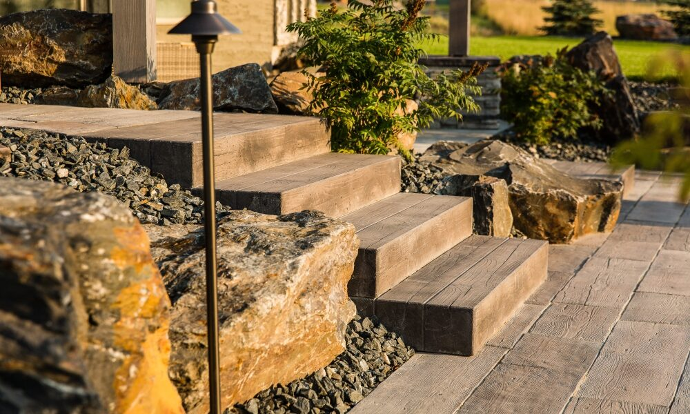 Rockslide Gravel - Our Services - Hardscape Products - Steps - Concrete Stairs Main View
