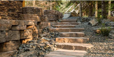 Rockslide Gravel - Our Services - Hardscape Products - Steps - Concrete Stairs Secondary View