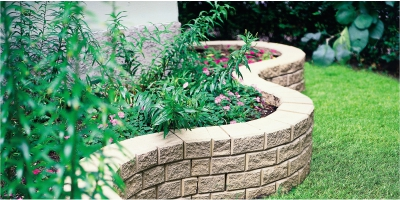 Rockslide Gravel - Our Services - Hardscape Products - Steps - Retaining Garden Wall Curved View
